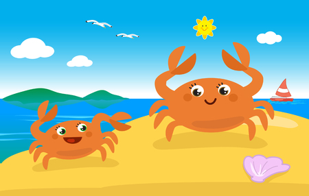 Cute cartoon crab mom and child on the sand, vector illustration Stock Photo