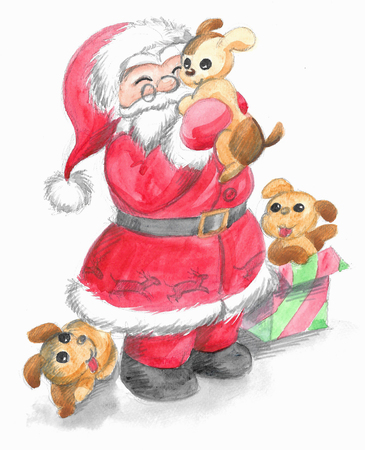 Santa Claus with three cute puppy dogs, Christmas illustration hand made with watercolors.