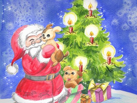 saint nicolas: Santa Claus with cute puppy dogs and Christmas tree, illustration hand made with watercolors.