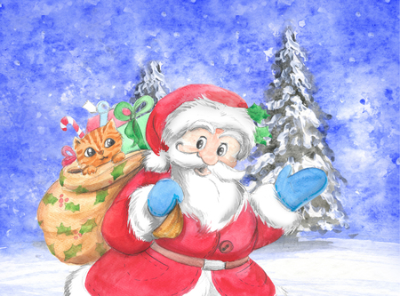 Santa Claus with gift sack and cute kitten in snowing landscape, Christmas illustration hand made with watercolors. Stock Illustration - 89518580