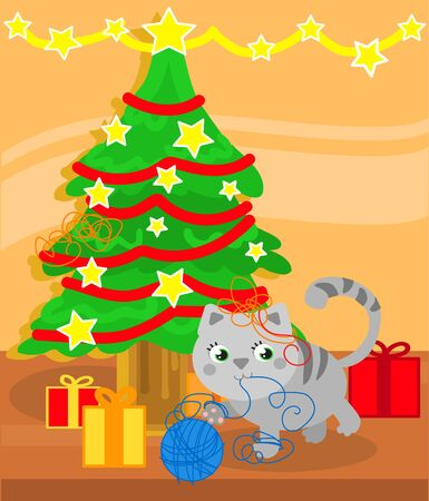 Christmas tree and cute kitty cat playing with wool ball, illustration