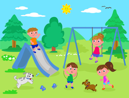 Group of children playing in a playground in nature, vector illustration