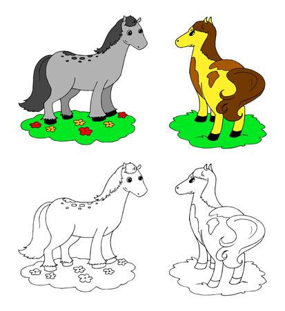 Coloring cartoon cute horses vector illustration Illustration