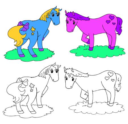 Coloring cartoon fantasy horses vector illustration