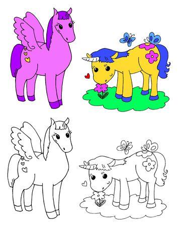 Coloring cute pegasus and unicorn vector illustration Illustration