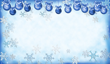 Blue Christmas background with decorated balls and snow flakes, digital illustration.
