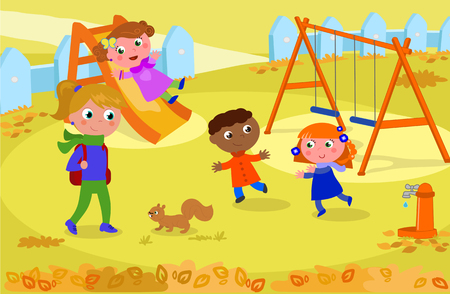 Children and adult at the playground in fall, playing with squirrel. Vector illustration Illustration
