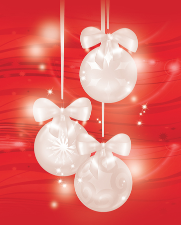 Red Christmas background with 3 white decorated balls, digital illustration Stock Photo