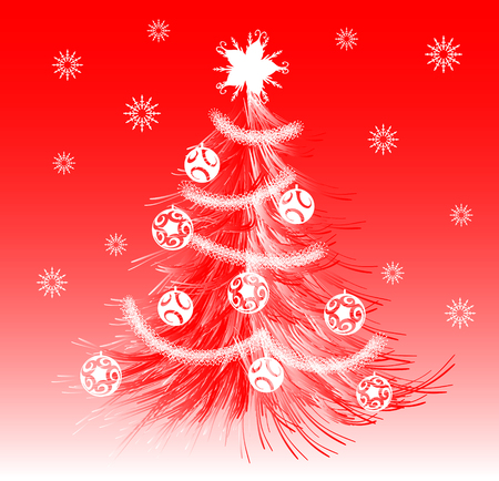 Red stylized Christmas tree with decorations and snow digital illustration
