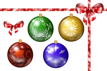 Christmas decorations collection of balls and  gift ribbons, digital illustration