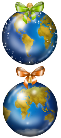 Christmas balls decorated with Earth maps and ribbons, digital illustration Stock Photo