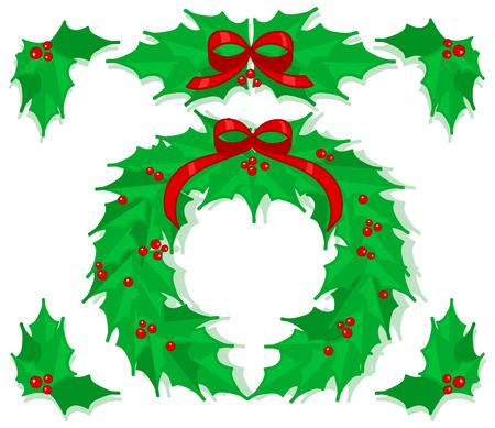 Holly Christmas ornaments illustration. Illustration
