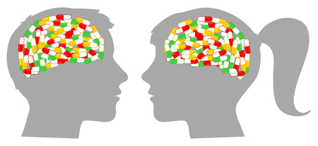 Man and woman head silhouette with brain full of drugs. Illustration
