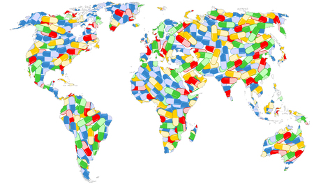 Earth map full of drugs capsules medical vector illustration