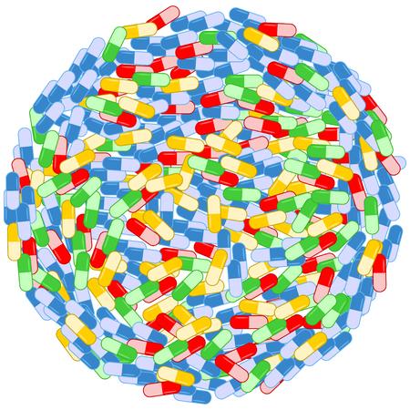 Pile of colored drugs circle illustration. Illustration