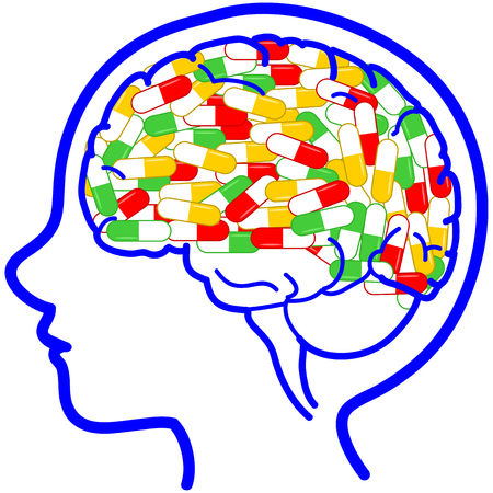 Kid head with full of pills. Illustration