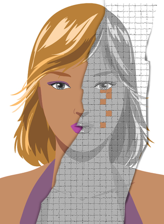 Ruined portrait of attractive young blond woman, worrying to become old. Concept illustration Stock Photo