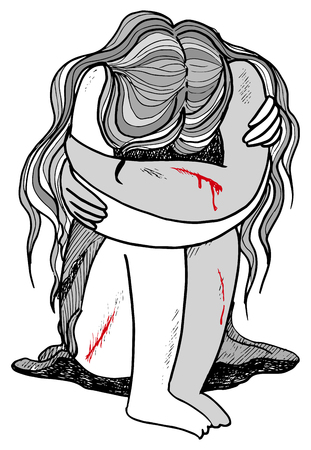 Gekwetste, bang jonge vrouw bloeden en huilen concept illustratie.