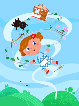 The wizard of Oz. Little girl Dorothy is flying in the wind twister with her dog and home Stock Illustratie