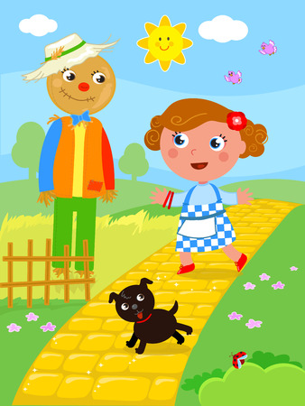 The wizard of Oz. Little girl Dorothy meets the Scarecrow on the yellow brick road