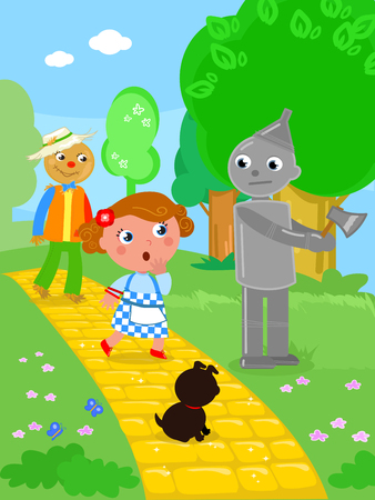 The wizard of Oz. Dorothy and the Scarecrow meet the Tin Man in the wood