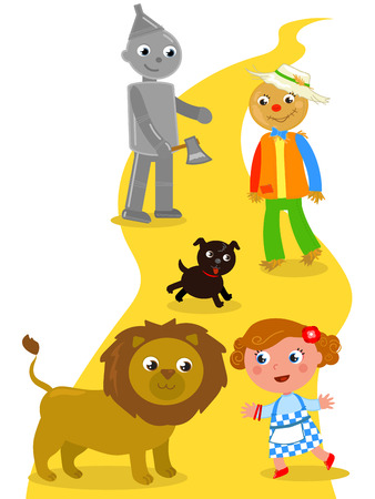 The wizard of Oz. Dorothy with her dog, the Scarecrow and the Tin Man meets the Lion. Stock Illustratie