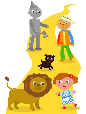 El mago de Oz. Dorothy con su perro, el Espantapájaros y el Hombre de Hojalata se encuentra con el León.
