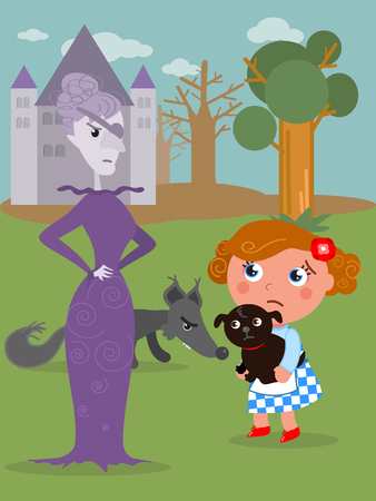 The wizard of Oz. Dorothy with her dog and the wicked West witch, vector illustration Stock Illustratie