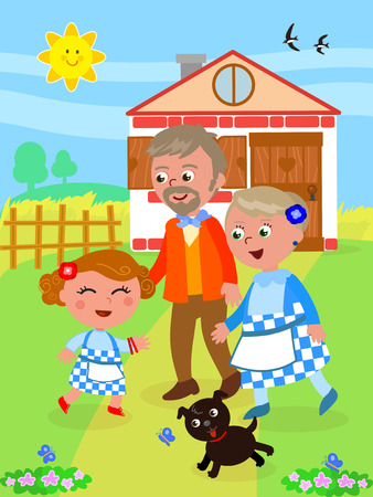 The wizard of Oz. Little girl Dorothy back home with her grandparents, vector illustration.