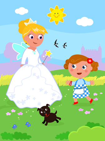 The wizard of Oz. Dorothy with her dog and the South witch Glinda, vector illustration