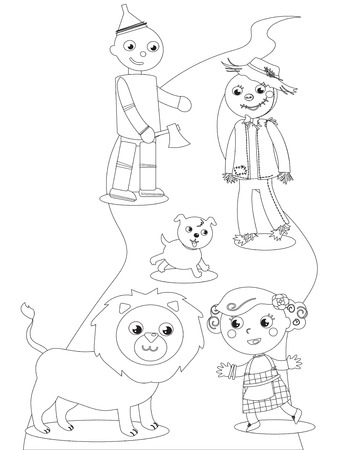 The wizard of Oz. Dorothy with her dog, the Scarecrow and the Tin Man meets the Lion. Coloring vector. Illustration