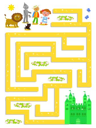 Czarnoksiężnik z labiryntu OZ, pomóż Dorothy znaleźć Szmaragdowy Zamek, gra ilustracji wektorowych