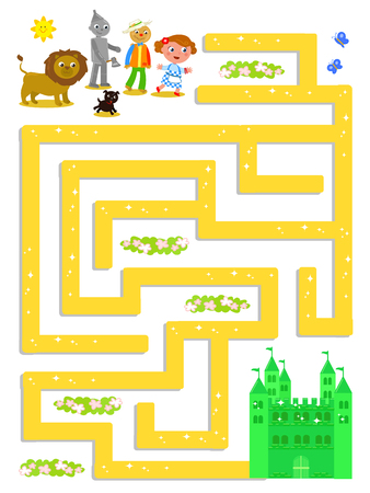 Wizard of OZ maze, help Dorothy to find the Emerald Castle, vector illustration game Фото со стока - 94052269