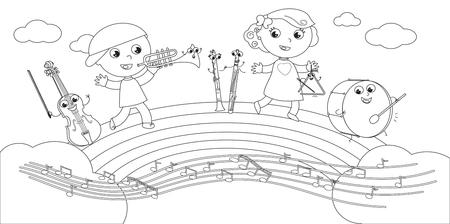 Strumenti musicali e bambini sorridenti svegli che giocano sull'arcobaleno. Illustrazione in bianco e nero Vettoriali