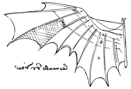 Illustrazione vettoriale in bianco e nero dello schizzo dell'ala di Leonardo da Vinci dal codice di volo con la sua famosa firma per mancini Archivio Fotografico - 94450276