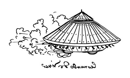 Black and white illustration vector of Leonardo da Vinci tank with his famous left-handed signature