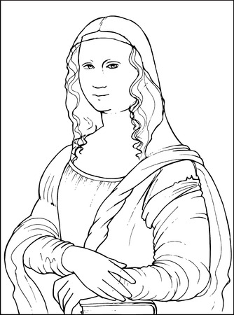 Black and white vector illustration of Gioconda the Leonardo da Vinci famous painting