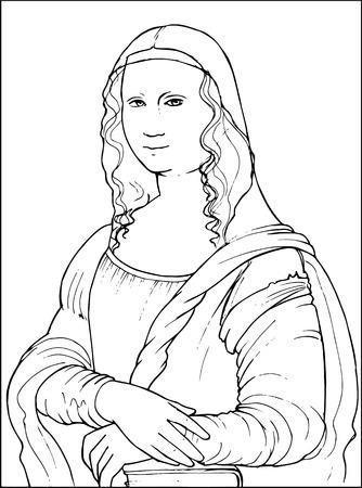 Black and white vector illustration of Gioconda the Leonardo da Vinci famous painting