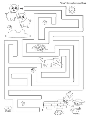Three little pigs labyrinth game coloring illustration vector