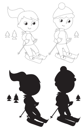 Boy and girl skiing, black and white illustration vector  Illustration