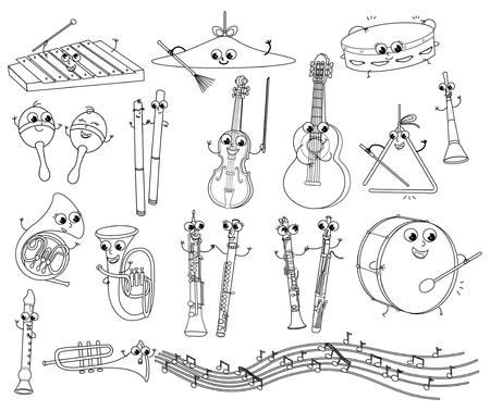 Śliczne uśmiechnięte instrumenty muzyczne. Kolekcja czarno-białych ilustracji kreskówek dla dzieci.