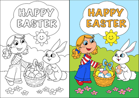 Happy easter coloring greetin card for kids with girl and bunny illustration