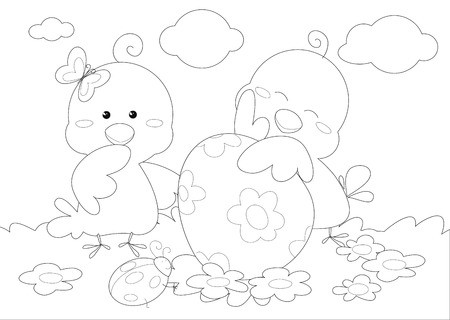 Happy easter black and white greeting card with cute pips and egg, illustration vector