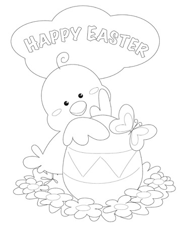 Happy easter coloring greeting card with cute pip and egg, illustration vector