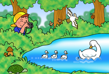 Child shooting photos of a group of ducks in lake. Cartoon illustration.