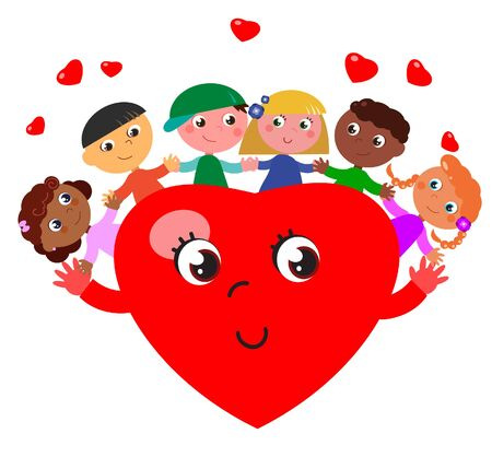 Happy hug with a cartoon heart illustration Illustration