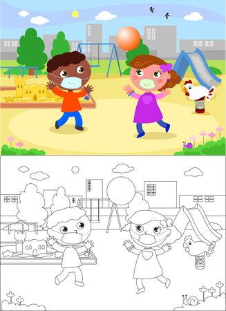African and caucasian children playing at the playground with protection masks, vector illustration and coloring version