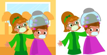 Cartoon 60's hair stylist and woman in beauty salon with medical masks vector illustration