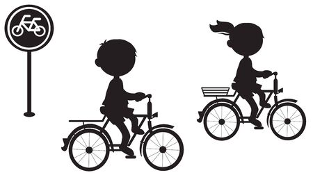 Girl and boy on bike with sign black silhouette vector illustration