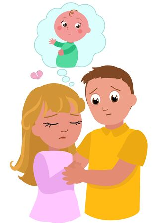 Young woman and man with fertility problems dreaming of a baby, vector illustration Çizim